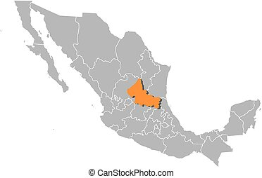 Map - Mexico, San Luis Potosi - Map of Mexico with the...