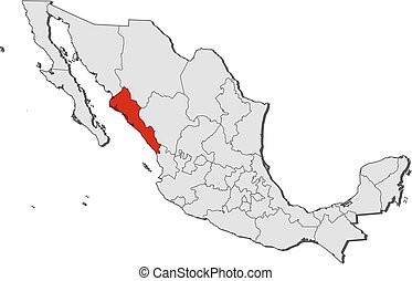 Map - Mexico, Sinaloa - Map of Mexico with the provinces,...