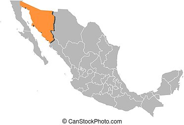 Map - Mexico, Sonora - Map of Mexico with the provinces,...