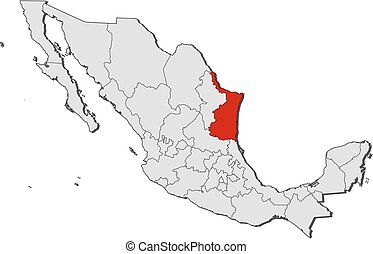 Map - Mexico, Tamaulipas - Map of Mexico with the provinces,...