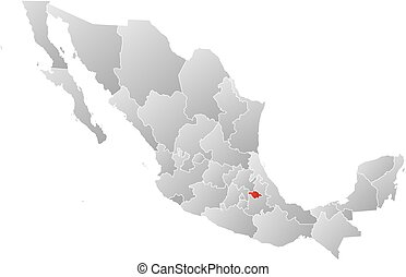 Map - Mexico, Tlaxcala - Map of Mexico with the provinces,...