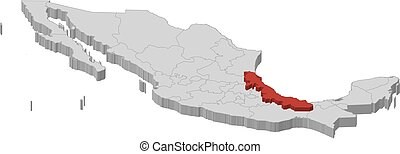 Map - Mexico, Veracruz - 3D-Illustration - Map of Mexico as...