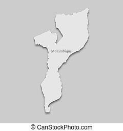 map Mozambique in a bright tone on the gray background
