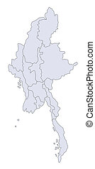 A stylized map of Myanmar showing the different provinces.