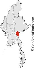 Map - Myanmar, Kayah - Map of Myanmar with the provinces,...