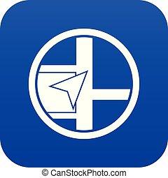 Map navigation icon digital blue