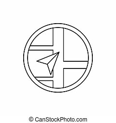 Map navigation icon, outline style