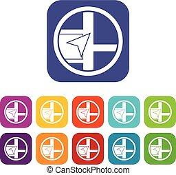 Map navigation icons set