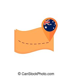map navigation pointer flag australia icon on white background