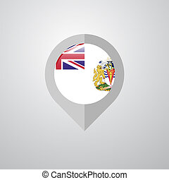 Map Navigation pointer with British antarctic Territory flag design vector