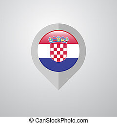 Map Navigation pointer with Croatia flag design vector