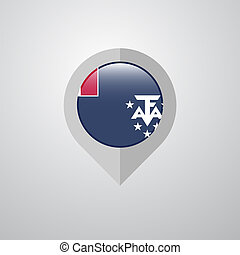 Map Navigation pointer with French Southern and Antarctic Lands flag design vector