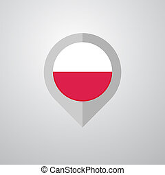 Map Navigation pointer with Poland flag design vector