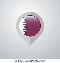 Map Navigation pointer with Qatar flag design vector