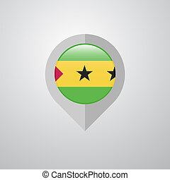 Map Navigation pointer with Sao Tome and Principe flag design vector