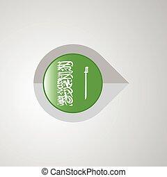 Map Navigation pointer with Saudi Arabia flag design vector