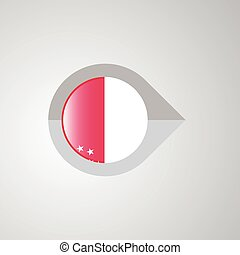 Map Navigation pointer with Singapore flag design vector