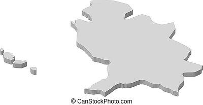 Map - Nayarit (Mexico) - 3D-Illustration - Map of Nayarit, a...