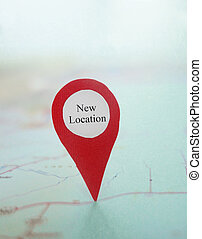 Map New Location - Red New Location locator on a map