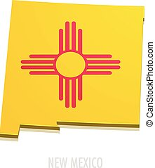 detailed illustration of a map of New Mexico with flag, eps10 vector