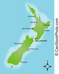 Map New Zealand - A stylized map of New Zealand showing...