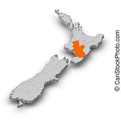 Map - New Zealand, Hawke's Bay - 3D-Illustration - Map of ...