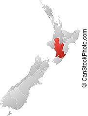 Map - New Zealand, Hawke's Bay - Map of New Zealand with the...