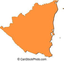 Nicaragua orange marked in political map of central america