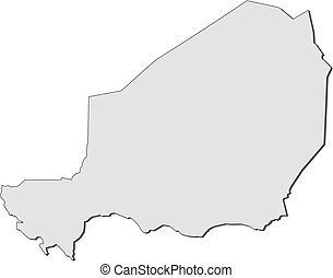 Map - Niger - Map of Niger, filled in gray.