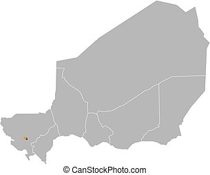 Map - Niger, Niamey - Map of Niger with the provinces,...