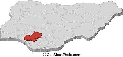 Map - Nigeria, Edo - 3D-Illustration - Map of Nigeria as a...