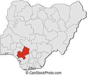 Map - Nigeria, Edo - Map of Nigeria with the provinces, Edo...