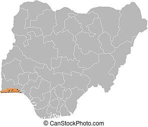 Map - Nigeria, Lagos