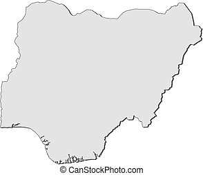 Map - Nigeria - Map of Nigeria, filled in gray.