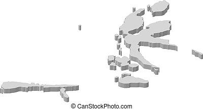 Map - North Maluku (Indonesia) - 3D-Illustration
