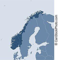 Vector Clipart Of Outline Norway Map Administrative Division Of - Norway map eps