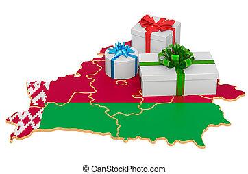 map., nuevo, navidad, belorussian, regalo, año, interpretación, cajas, vacaciones, concept., belarus, 3d