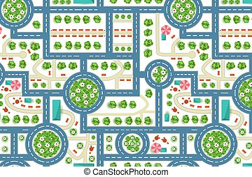 Map of a top view from the city. Road and trees pattern for kids wall or floor interior design.