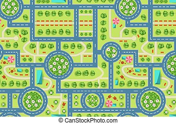 Map of a top view from the city. Road and trees pattern
