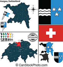 Map of Aargau, Switzerland