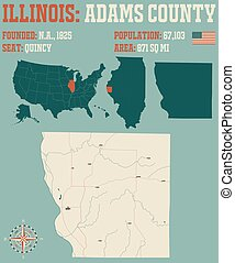 Map of Adams County in Illinois