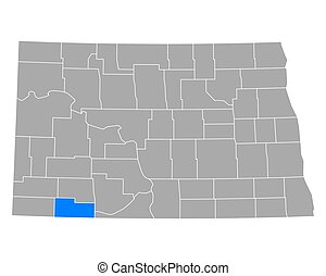 Map of Adams in North Dakota