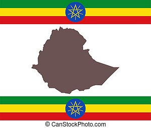 Map of Aethiopia on background with flag
