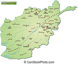 Map of Afghanistan as an overview map in pastel green