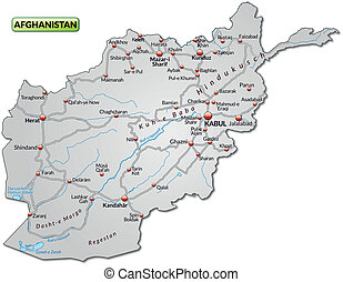 Map of Afghanistan with highways in gray