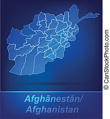 Map of Afghanistan with borders as scrible
