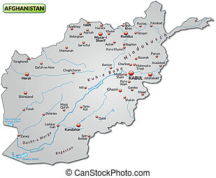 Map of Afghanistan as an overview map in gray