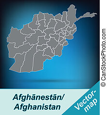 Map of Afghanistan with borders in bright gray