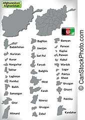 Map of Afghanistan with borders in gray