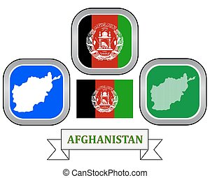 map of Afghanistan - map button flag and symbol of...